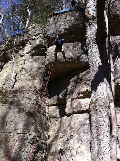 Chris rappelling