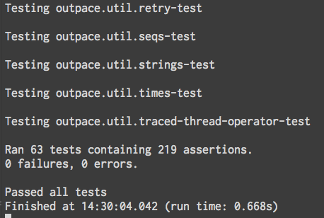Normal view of test output