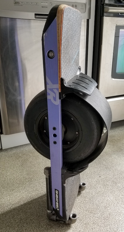 onewheel in pipe stand